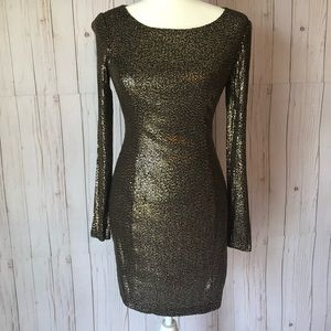GUESS Long sleeve, gold sequin dress size small